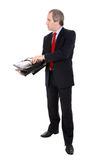 Uomo d'affari che apre una cartella Immagini Stock Libere da Diritti