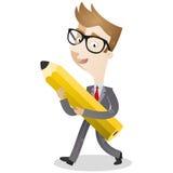 Uomo d'affari che cammina con la matita Immagini Stock Libere da Diritti