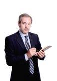 Uomo d'affari che cattura le note Immagini Stock
