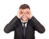 Uomo d'affari che cerca gli impiegati Fotografia Stock