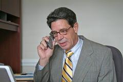 Uomo d'affari che comunica sul telefono Immagini Stock