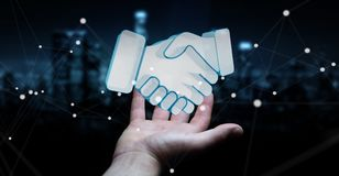 Uomo d'affari che conclude una rappresentazione di associazione 3D Fotografia Stock Libera da Diritti