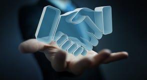 Uomo d'affari che conclude una rappresentazione di associazione 3D Fotografia Stock
