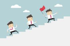 Uomo d'affari che conduce una scala di collaborare al successo Vettore illustrazione di stock