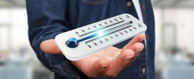 Uomo d'affari che controlla la rappresentazione del calo 3D di temperatura Fotografia Stock