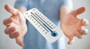 Uomo d'affari che controlla la rappresentazione del calo 3D di temperatura Immagini Stock Libere da Diritti
