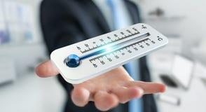 Uomo d'affari che controlla la rappresentazione del calo 3D di temperatura Fotografia Stock Libera da Diritti