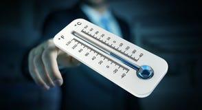 Uomo d'affari che controlla la rappresentazione del calo 3D di temperatura Immagine Stock
