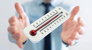 Uomo d'affari che controlla la rappresentazione di aumento di temperatura 3D Immagine Stock