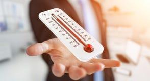 Uomo d'affari che controlla la rappresentazione di aumento di temperatura 3D Fotografie Stock Libere da Diritti