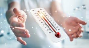 Uomo d'affari che controlla la rappresentazione di aumento di temperatura 3D Fotografia Stock