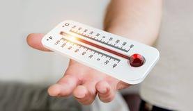 Uomo d'affari che controlla la rappresentazione di aumento di temperatura 3D Immagine Stock Libera da Diritti