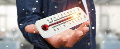 Uomo d'affari che controlla la rappresentazione di aumento di temperatura 3D Fotografia Stock Libera da Diritti