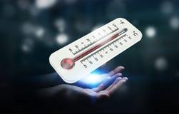 Uomo d'affari che controlla la rappresentazione di aumento di temperatura 3D Immagini Stock