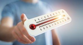 Uomo d'affari che controlla la rappresentazione di aumento di temperatura 3D Fotografie Stock