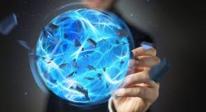 Uomo d'affari che crea una palla di potere con la sua rappresentazione della mano 3D Immagine Stock Libera da Diritti