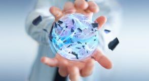 Uomo d'affari che crea una palla di potere con la sua rappresentazione della mano 3D Fotografia Stock