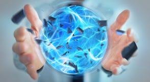 Uomo d'affari che crea una palla di potere con la sua rappresentazione della mano 3D Fotografia Stock Libera da Diritti