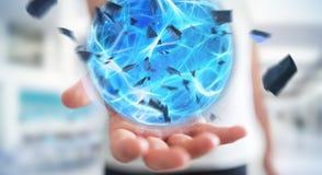Uomo d'affari che crea una palla di potere con la sua rappresentazione della mano 3D Fotografie Stock
