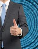 Uomo d'affari che dà i pollici in su immagini stock libere da diritti