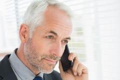 Uomo d'affari che dà una occhiata attraverso i ciechi mentre sulla chiamata immagine stock