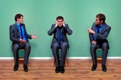 Uomo d'affari che discute con sè Fotografia Stock Libera da Diritti