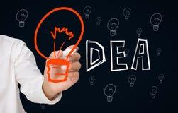 Uomo d'affari che disegna grande lampadina arancio come la i nell'idea Immagine Stock