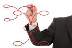 Uomo d'affari che disegna un mappa di mente fotografie stock libere da diritti