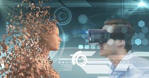 Uomo d'affari che esamina essere umano 3d attraverso i vetri di VR Fotografia Stock