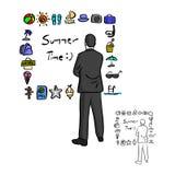 Uomo d'affari che esamina lo sketc stabilito dell'illustrazione di vettore dell'icona di estate Immagini Stock