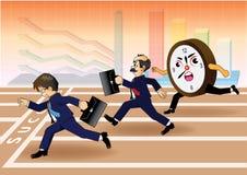 Uomo d'affari che esegue una corsa contro il tempo Fotografie Stock Libere da Diritti
