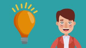 Uomo d'affari che espone animazione di idea HD illustrazione di stock