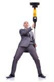 Uomo d'affari che fa pulizia sul bianco Fotografie Stock Libere da Diritti