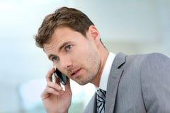 Uomo d'affari che fa un phonecall Immagine Stock Libera da Diritti