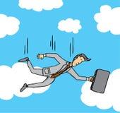 Uomo d'affari che cade dal cielo Immagine Stock Libera da Diritti