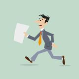 Uomo d'affari che funziona in ritardo Immagine Stock