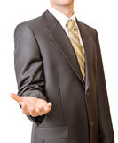 Uomo d'affari che gesturing con la mano vuota Fotografie Stock Libere da Diritti