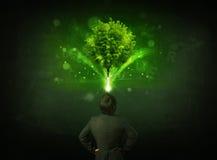 Uomo d'affari che gesturing davanti ad un albero d'ardore Immagine Stock