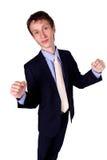 Uomo d'affari che gesturing OKAY nello studio Fotografie Stock Libere da Diritti