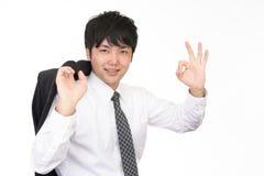 Uomo d'affari che gode del successo Fotografia Stock