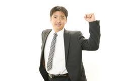 Uomo d'affari che gode del successo Fotografie Stock