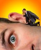 Uomo d'affari che grida all'orecchio Fotografia Stock Libera da Diritti