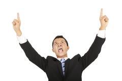 Uomo d'affari che grida e che indica Fotografia Stock Libera da Diritti