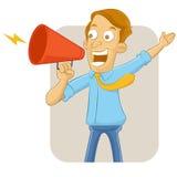 Uomo d'affari che grida nel megafono Immagini Stock Libere da Diritti