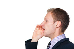Uomo d'affari che grida a qualcuno Fotografia Stock
