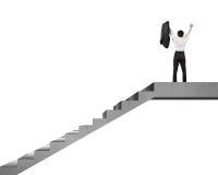 Uomo d'affari che incoraggia sopra le scale concrete isolate nel bianco Fotografia Stock
