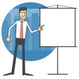 Uomo d'affari che indica ad un grafico in bianco Immagini Stock Libere da Diritti