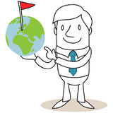 Uomo d'affari che indica al globo con il punto contrassegnato Fotografia Stock