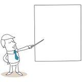 Uomo d'affari che indica allo schermo illustrazione di stock