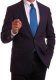 Uomo d'affari che indica barretta Fotografie Stock Libere da Diritti